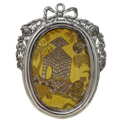 Antique Continental Silver (.800) Oval Picture Frame with Bow and Floral Swags, Circa 1890's