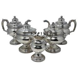 """Rare Antique American (.900) Coin Silver 5-Piece Tea and Coffee Service Hallmarked """"Whartenby & Bumm"""" of Philadelphia, Pennsylvania, Circa 1816-1818."""