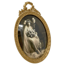 """Antique Gold Bronze Oval Frame Retailed at """"Lord & Taylor"""" New York, Circa 1900."""