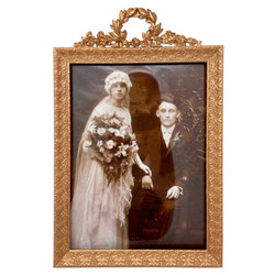 """Antique French Gold Bronze Rectangular Desktop Picture Frame Retailed at """"Stern Brothers"""" New York, Circa 1890."""