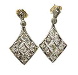 Handmade 14 Karat and White Gold Diamond Earrings