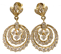 Hand-Made American 14 Karat Gold and 2.82 Carat Diamond Earrings