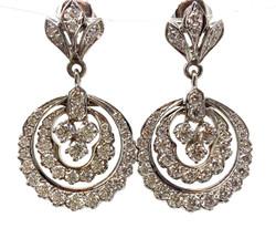 14 Karat Gold and 2.82 Diamond Earrings.