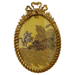 Antique French Louis XVI Style Bronze D' Ore Oval Shaped Desktop Picture Frame, Circa 1890.