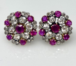 Antique Diamond and Ruby Cluster Earrings