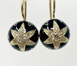 14 Karat Gold Diamond Black Enamel