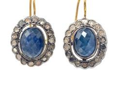 Handmade Sapphire and Diamond 14 Karat Gold Earrings