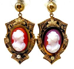 American 14 Karat Gold Cameo Earrings