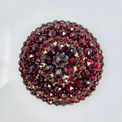 Antique Garnet Cluster and Sterling Vermeil Pin, Circa 1890.