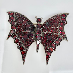 Antique Garnet and Sterling Vermeil Butterfly Pin, Circa 1890.