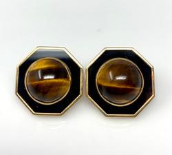 Pair Estate Mid-Century Onyx Cat's Eye Earrings.