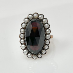Antique Garnet, Pearl, and Sterling Vermeil Ring, Circa 1890.