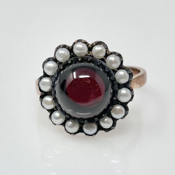 Handmade Cabochon Garnet, Seed Pearl and Sterling Vermeil Ring.