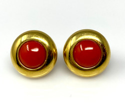 Antique Coral and 14 Karat Earrings