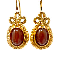 Antique American 14 Karat Carnelian Earrings