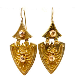 Antique English 15 Karat Estruscan Earrings