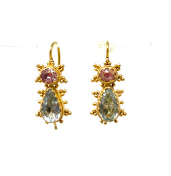 Pink Topaz and Blue Topaz Earrings