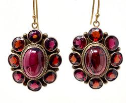 Antique Cabochon Garnet Earrings