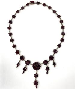 Antique Garnet Necklace in Sterling Silver, Circa 1890-1900