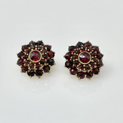 Antique Garnet Cluster Earrings with 14 Karat Posts