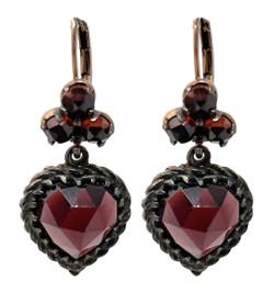 Pair Handmade Garnet and Sterling Vermeil Heart Earrings.