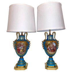"""Pair Antique French Hand-Painted Cyan Blue and Gold """"Vieux Paris"""" Porcelain Vases Converted into Lamps, Circa 1880."""