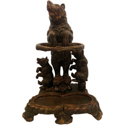 """Antique German Hand-Carved Black Forest Wood """"Bear and Cubs"""" Umbrella Stand, Circa 1890. Beautifully carved bears with glass eyes."""