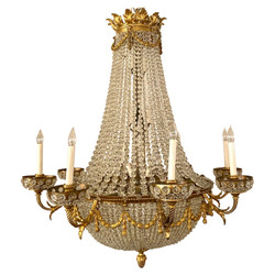 Antique French Empire Style Bronze D' Ore and Crystal Chandelier, Circa 1900.