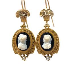 Antique 14 Karat Gold Cameo Earrings