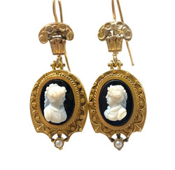Pair Antique American 14 Karat Gold Cameo Earrings with Seed Pearls, Circa 1890.