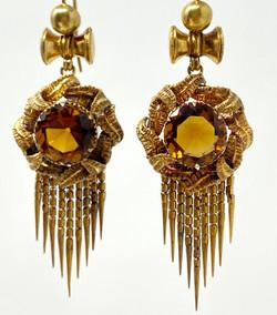 Antique English 15 Karat Gold Topaz Earrings
