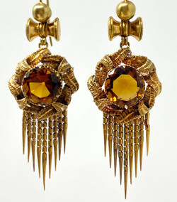 Pair Antique English 15 Karat Gold Topaz Earrings, Circa 1890.