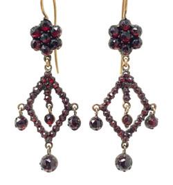 Pair Antique Sterling Vermeil and Garnet Drop Earrings, Circa 1880.