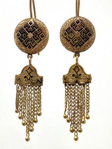 Antique Black Enamel 14 Karat Gold Earrings