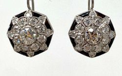 Pair Handmade American 14 Karat White Gold Diamond and Onyx Earrings.  2.5 Carat TW of Diamonds.