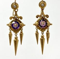 Pair American 14 Karat Gold Amethyst Earrings with Seed Pearls, Circa 1910