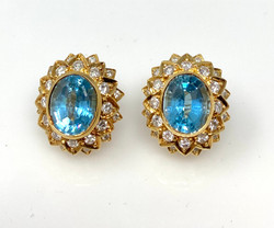 Pair Handmade American 14 Karat Gold Aquamarine and Diamond Earrings.