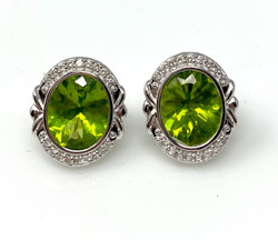 Peridot Diamond 14 Karat Gold Earrings