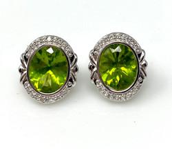 Pair Handmade American 14 Karat White Gold Peridot and Diamond Earrings.