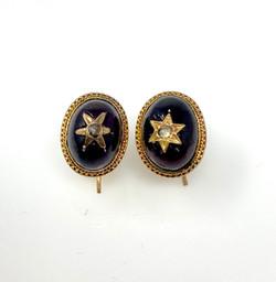 Antique Garnet 14 Karat Gold Earrings