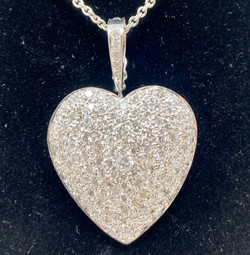 Handmade American 14 Karat White Gold and Diamond Heart Cluster Pendant.