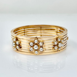 Antique French 18 Karat Gold and Pearl Bracelet, Circa 1900.