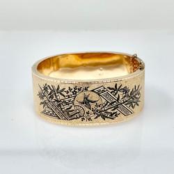 Antique American 14 Karat Gold Black Enamel Bracelet, Circa 1890.
