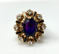 Estate American 14 Karat Gold and Black Enamel Amethyst and Diamond Ring