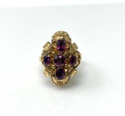 Antique American 14 Karat Gold Garnet Ring