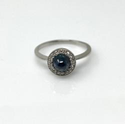 Estate Cabochon Sapphire and Diamond Platinum Ring