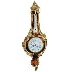 Antique Louis XVI Tortoiseshell and Ormolu Barometer Clock
