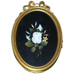 Antique French Ormolu Bronze Frame with Velvet Backing and Mosaic, Circa 1860-1870