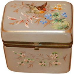 Antique French Art Nouveau Opaline Glass Jewel Box with Hand Enameling, Circa 1900
