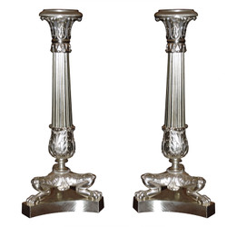 Pair of Antique French Charles X Bronze candlesticks